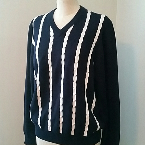 Brooks Brothers Sweaters Vintage Mens Navy White Cable Knit